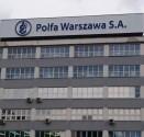 Nowe logo na budynku Polfa Warszawa
