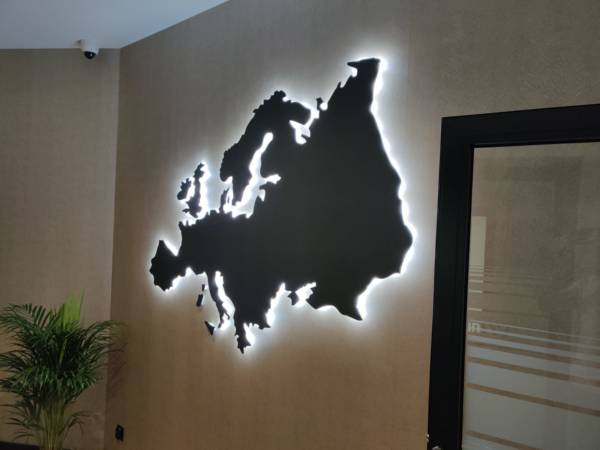 podswietlana mapa